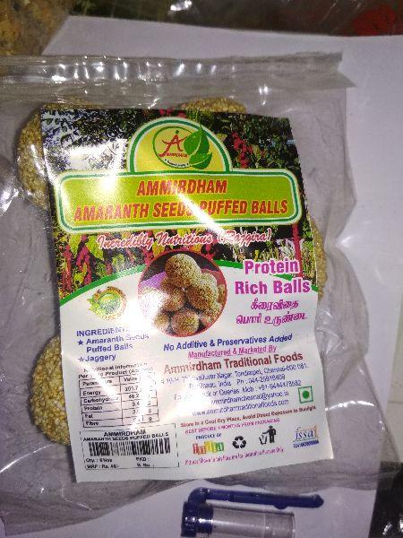 Amaranth seeds puffed balls