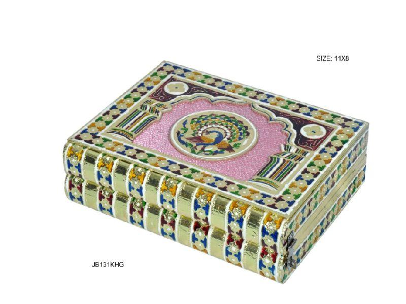 Gold Meenakari Jewellery Box