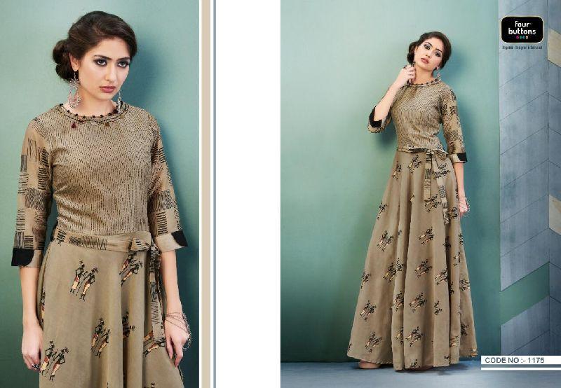 D No. 1175 Chanderi Gown