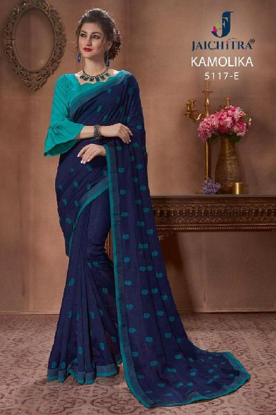 D No. 5117-E Vichitra Silk Saree