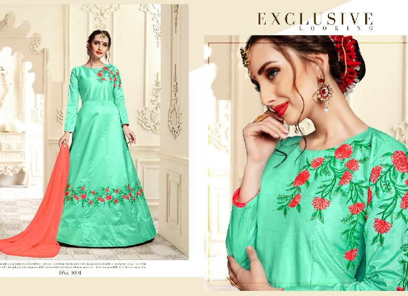 D No. 1004 Banarasi Silk Gown