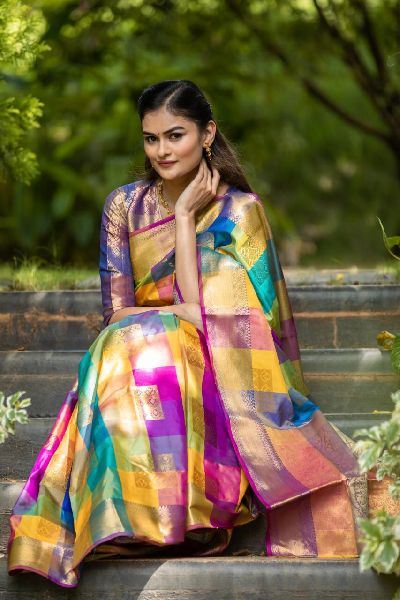 Checkered Kanchipuram Silk Sarees