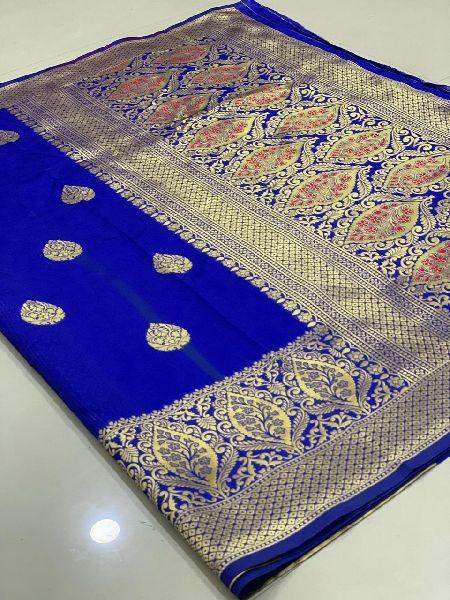 Dark Blue Traditional Banarasi Silk Sarees