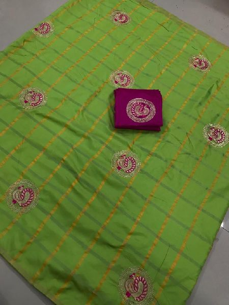 Green Panetar Sana Silk Embroidered Sarees