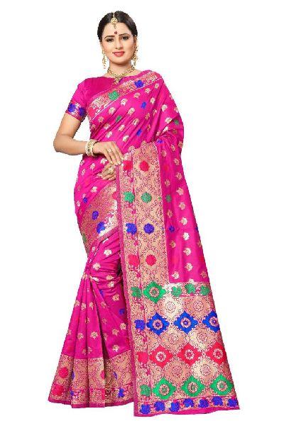 Light Pink Banarasi Silk Meenakari Sarees