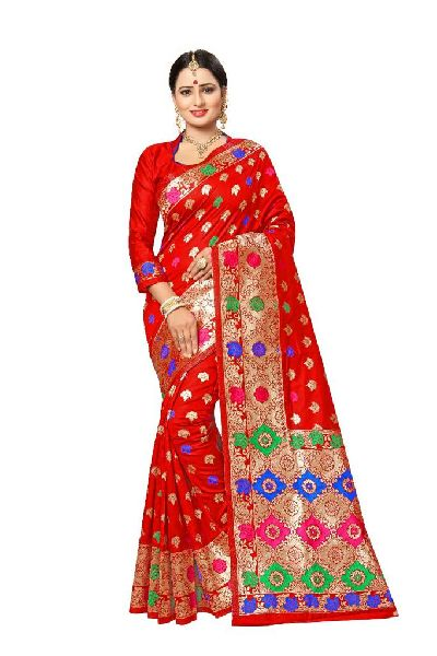 Light Red Banarasi Silk Meenakari Sarees
