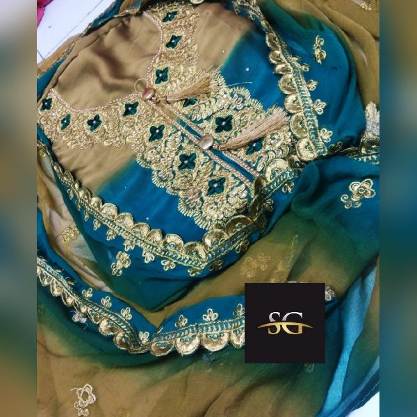 Light Blue Embroidered Georgette Suit Material