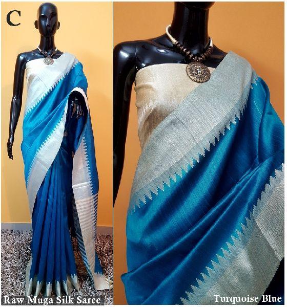 Light Blue Plain Raw Silk Sarees