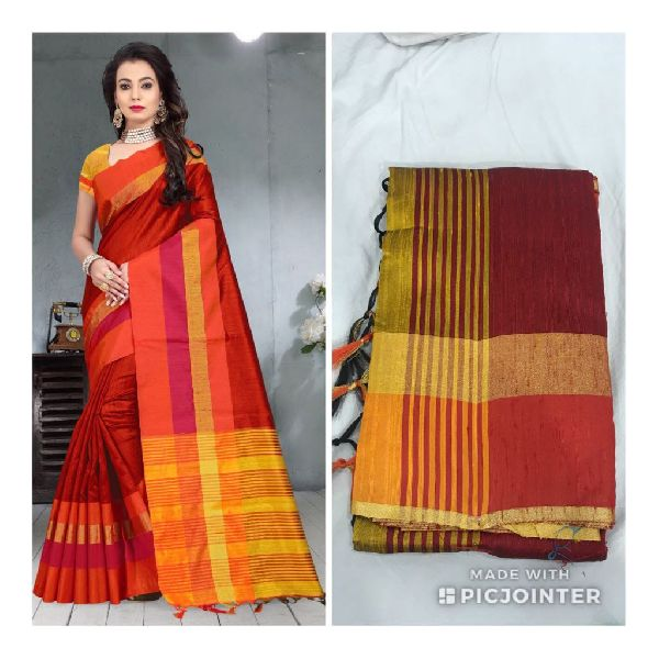 070896f0a3 Contrast Blouse Maroon Raw Silk Saree Manufacturer Supplier in Surat ...