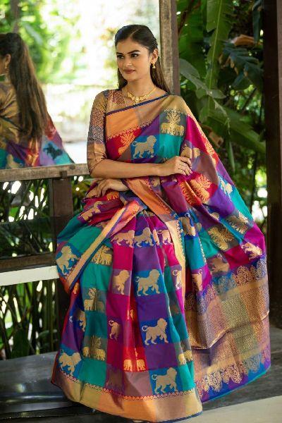Multi Color Kanchipuram Silk Sarees