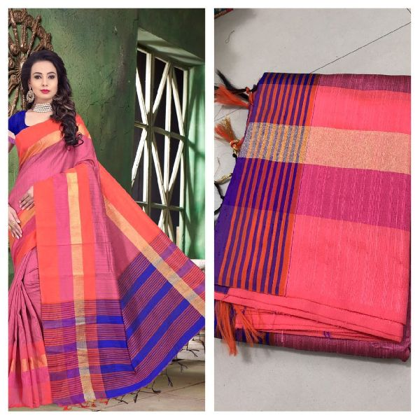 Peach Raw Silk Saree with Contrast Blouse