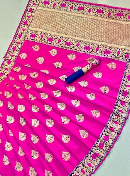 Pink Printed Meenakari Banarasi Sarees