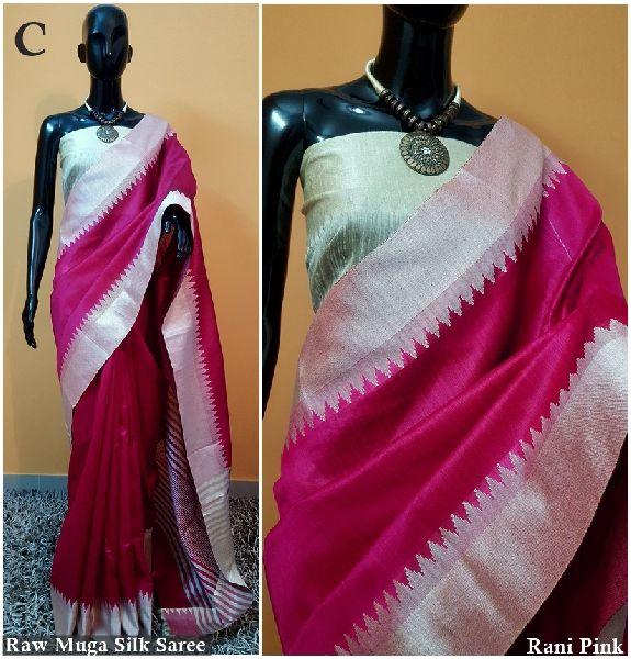 Pink Plain Raw Silk Sarees