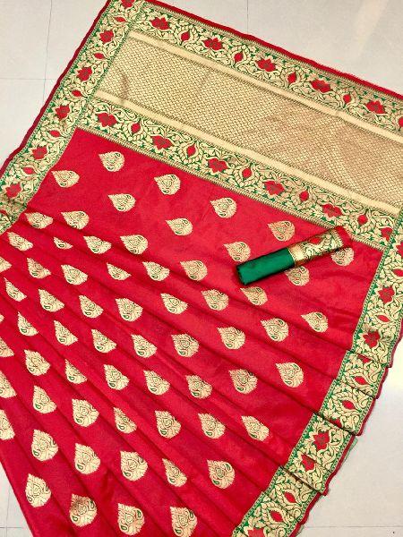 Red Printed Meenakari Banarasi Sarees