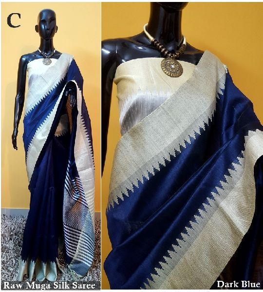 Royal Blue Plain Raw Silk Sarees