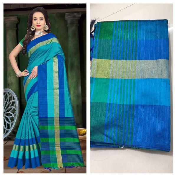 Sea Green Raw Silk Saree with Contrast Blouse