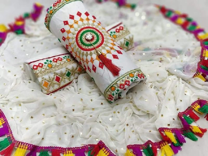 White Fancy Dress Material