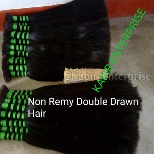 Non Remy Double Drawn Straight Hair
