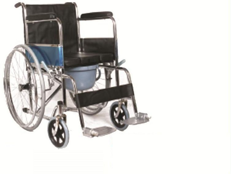Black Cushion Commode Wheelchair