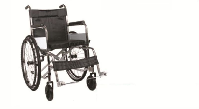 Hard Chrome Coated Black Cushion Wheelchair