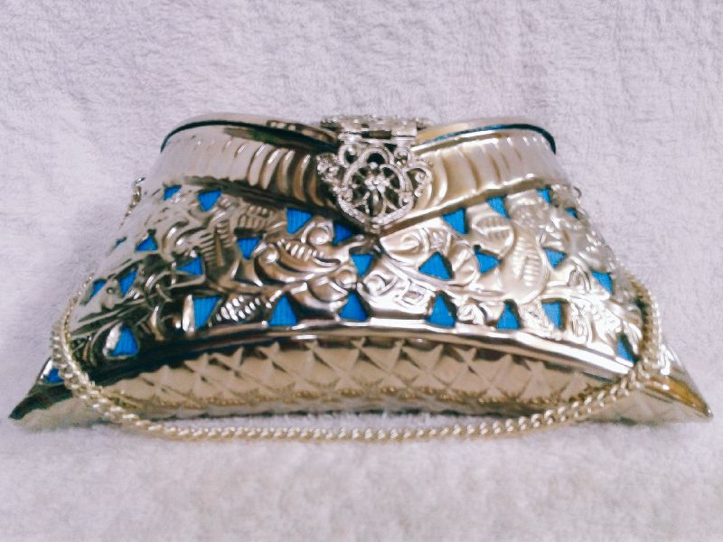 Brass Cutwork Jali Silver Purse 01
