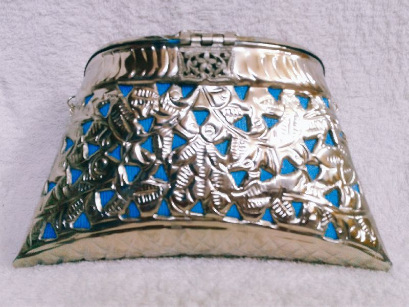 Brass Cutwork Jali Silver Purse 03