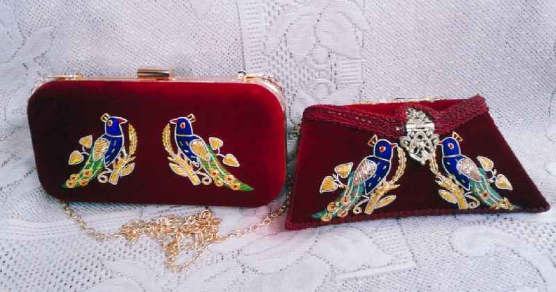 Peacock Embroidered Clutch Purse 01