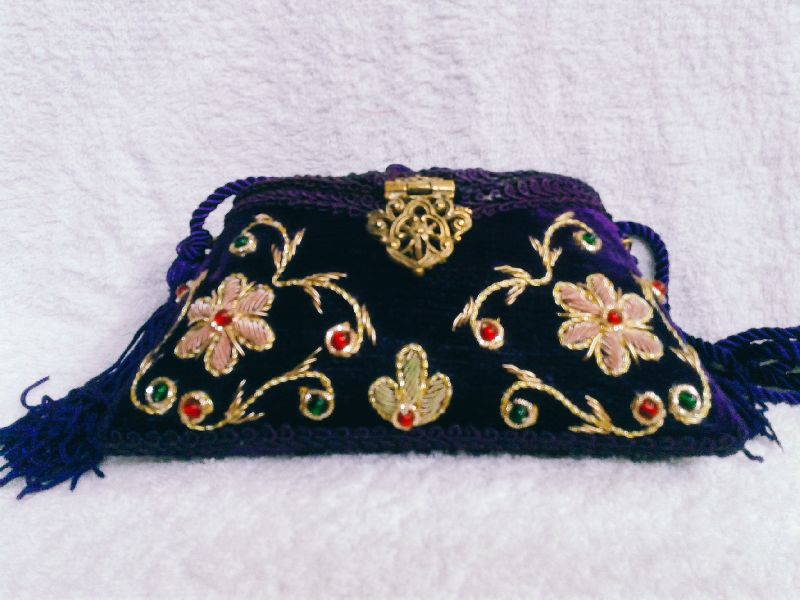 Zari Embroidery Flower Clutch Purse 01