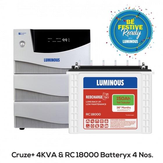 4 kVA Cruze+ & 150 Ah RC18000 Home UPS & Batteries Combo Set