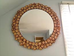 Wooden Frame Round Mirror