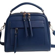 Navy Blue Leather Evening Bag