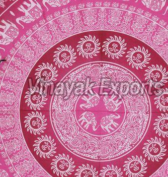 Mandala Pink Elephant Printed Tapestry