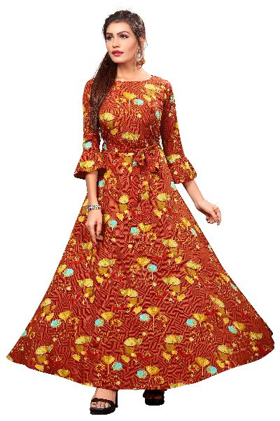 G-153 Printed Designer Gown