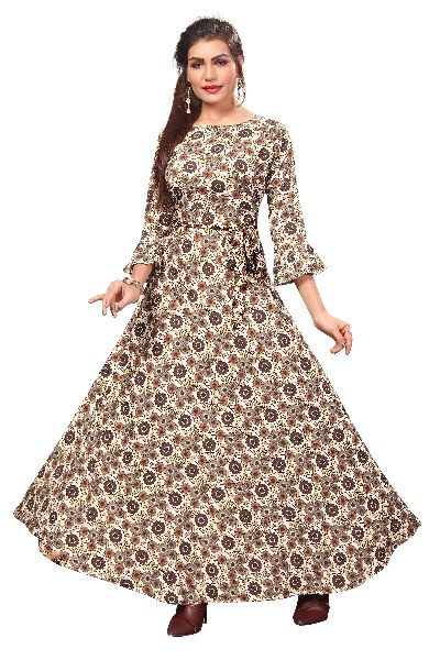 G-156 Printed Designer Gown
