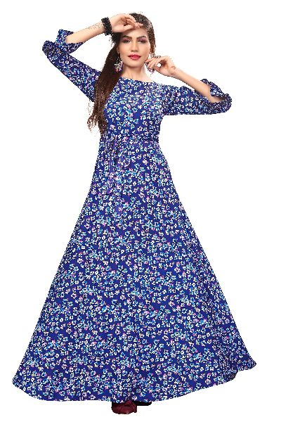 G-159 Printed Designer Gown