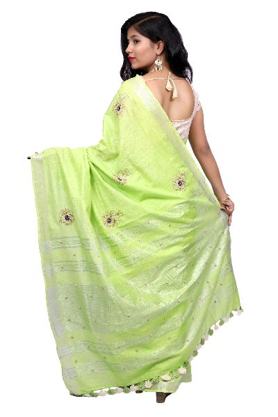 Parrot Green Embroidered Cotton Saree