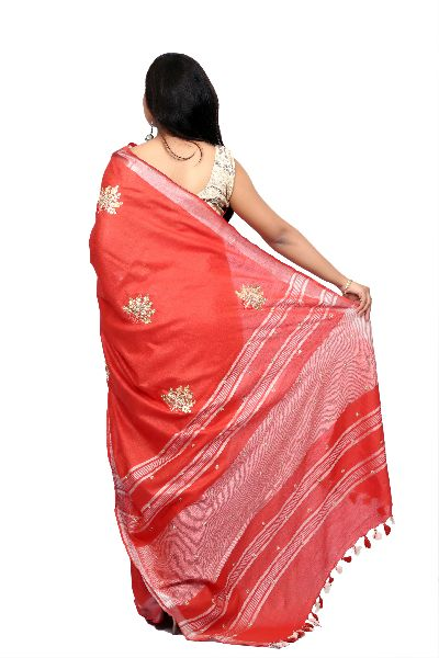 Red Embroidered Cotton Saree