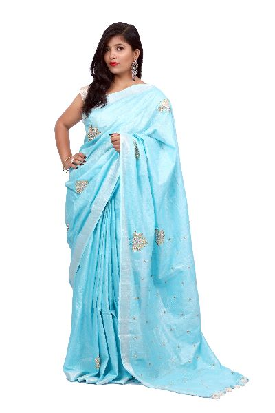 Sky Blue Embroidered Cotton Saree