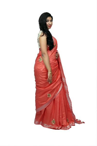 Carrot Red Embroidered Cotton Saree