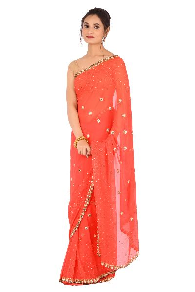 Carrot Red Embroidered Georgette Saree