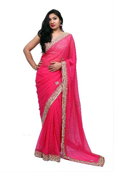 Pink Heavy Border Georgette Saree