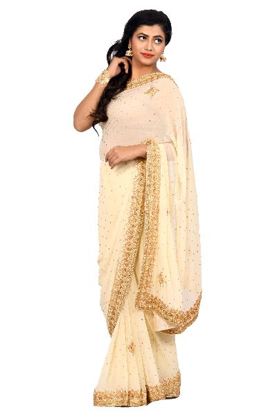 Beige Heavy Border Georgette Saree
