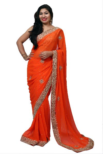 Orange Heavy Border Georgette Saree