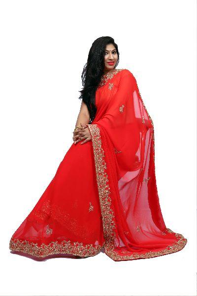 Red Heavy Border Georgette Saree