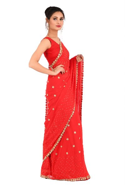 Red Embroidered Georgette Saree