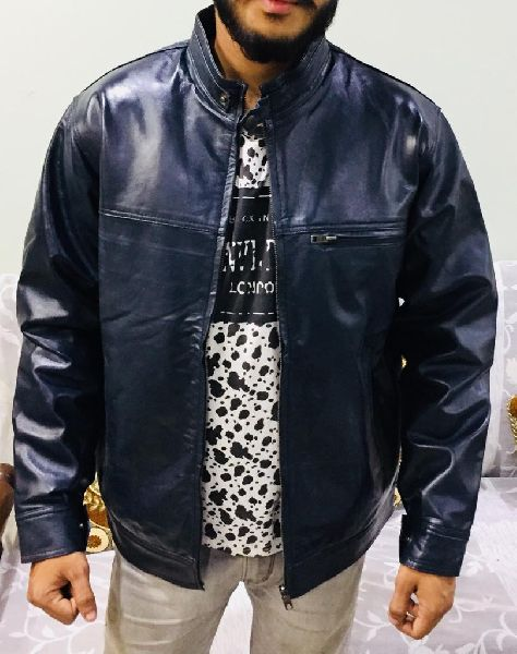 Mens Navy Blue Leather Jacket