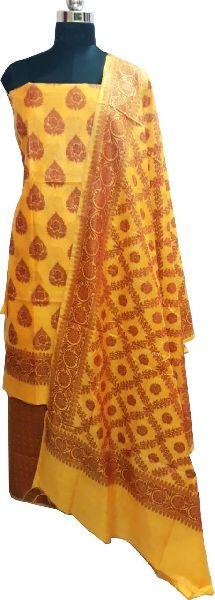 Banarasi Cotton Paan Boota Suit Material