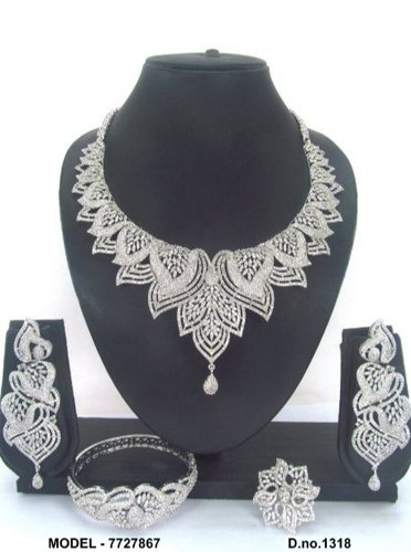 Beaded American Diamond Jewellery Set