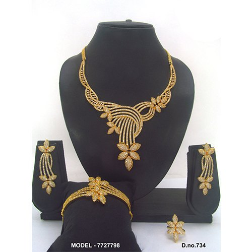 Golden American Diamond Jewellery Set