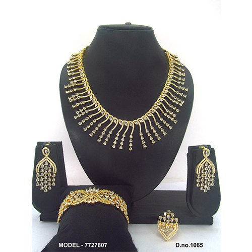 Golden Artificial Diamond Jewellery Set